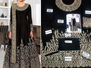 Indian Embroidered Black Chiffon Maxi Price in Pakistan