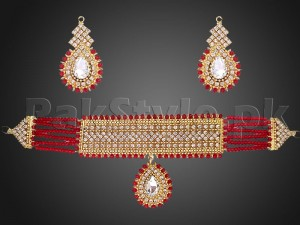 Red Stones Golden Choker Jewelry Set Price in Pakistan
