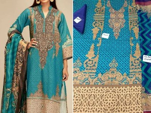 Embroidered Sea Green Lawn Dress with Chiffon Dupatta Price in Pakistan