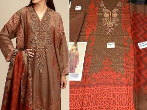 Embroidered Brown Lawn Dress with Chiffon Dupatta Price in Pakistan