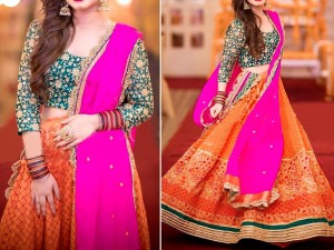 Multicolor Embroidered Chiffon Bridal Dress Price in Pakistan