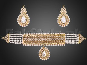 White Pearls Golden Choker Jewelry Set