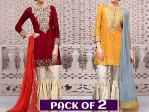 Pack of 2 Embroidered Linen Dresses Price in Pakistan