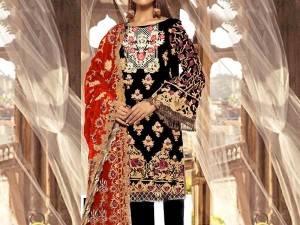 Embroidered Royal Black Lawn Suit with Lawn Dupatta Price in Pakistan