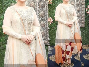Handwork Heavy Embroidered White Chiffon Dress Price in Pakistan