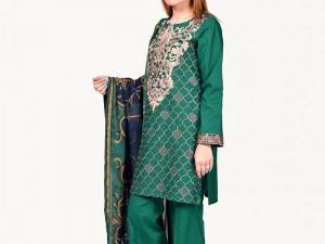 Embroidered Green Lawn Suit with Chiffon Dupatta Price in Pakistan