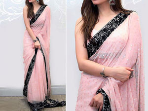 Embroidered Chiffon Saree with Inner Price in Pakistan
