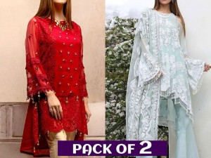 Pack of 2 Embroidered Chiffon Kurti & Net Dress Price in Pakistan