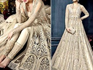 Heavy Embroidered Net Bridal Maxi Dress Price in Pakistan