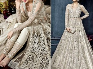 Heavy Embroidered Net Bridal Maxi with Matching Clutch Purse Price in Pakistan