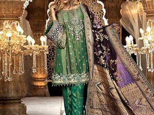 Embroidered Masoori Net Bridal Dress with Jamawar Trouser Price in Pakistan
