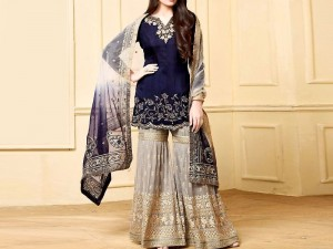 Indian Heavy Embroidered Chiffon Suit with Net Dupatta Price in Pakistan