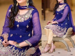 Royal Blue Embroidered Chiffon Dress with Jamawar Trouser Price in Pakistan