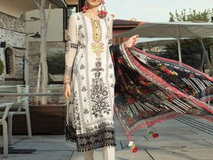 Embroidered White Lawn Suit with Chiffon Dupatta Price in Pakistan