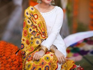 Embroidered Chiffon Dress with Yellow Phulkari Dupatta Price in Pakistan