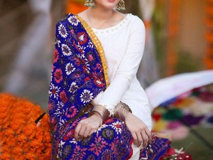 Embroidered Chiffon Dress with Blue Phulkari Dupatta Price in Pakistan