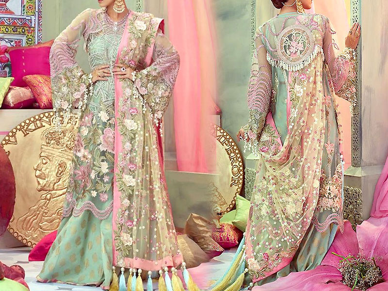 Luxury Embroidered Net Bridal Dress with Embroidered Net Dupatta Price in Pakistan