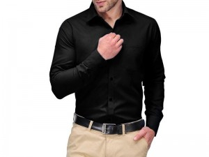 Men's Black Regular Fit Plain Shirt Price in Pakistan