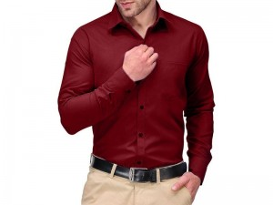 Maroon Regular Fit Plain Shirt Price in Pakistan