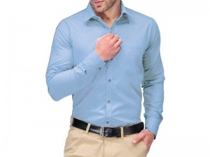 Sky Blue Men's Regular Fit Plain Shirt Price in Pakistan