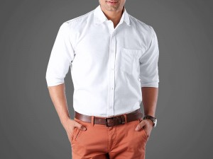 White Men's Regular Fit Plain Shirt Price in Pakistan