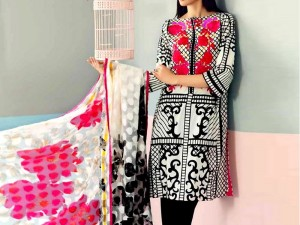 Embroidered Lawn Dress with Scroll Embroidered Chiffon Dupatta Price in Pakistan