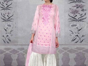 Embroidered Pink Lawn Suit with Chiffon Dupatta Price in Pakistan