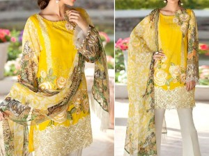 Elegant Embroidered Yellow Lawn Dress with Chiffon Dupatta Price in Pakistan