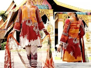 Heavy Embroidered Lawn Suit with Chiffon Dupatta Price in Pakistan