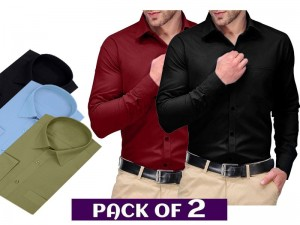 Pack of 2 Regular Fit Plain Shirts of Your Choice Price in Pakistan
