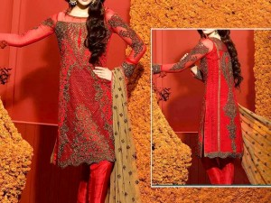 Heavy Dori Work Embroidered  Red Chiffon Wedding Dress Price in Pakistan