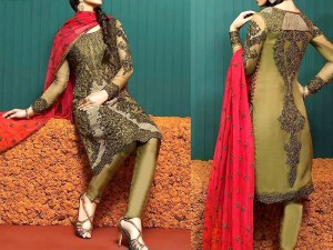 Heavy Dori Work Embroidered  Chiffon Wedding Dress Price in Pakistan