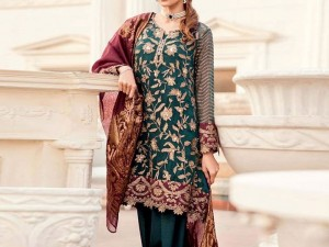 Embroidered Chiffon Wedding Dress with Tissue Net Dupatta