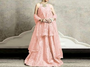 Embroidered Masoori Dress with Net Dupatta