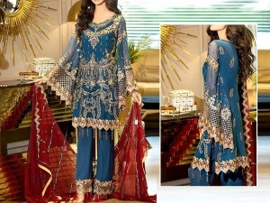 Luxury Heavy Embroidered Lawn Suit with Embroidered Chiffon Dupatta Price in Pakistan