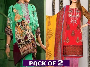 Pack of 2 Embroidered Lawn Dresses with Chiffon Dupatta Price in Pakistan
