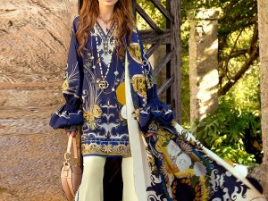 Embroidered Blue Lawn Suit with Lawn Dupatta Price in Pakistan