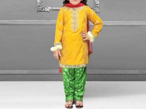 Kids 3-Pcs Embroidered Lawn Suit with Chiffon Dupatta Price in Pakistan