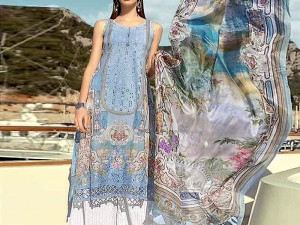 Heavy Embroidered Airjet Lawn Dress with Chiffon Dupatta Price in Pakistan