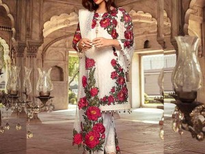 Embroidered White Chiffon Dress with Net Dupatta