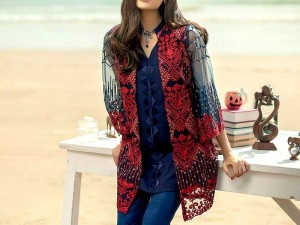 Navy Blue Embroidered Net Kurti with Inner Price in Pakistan