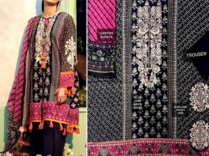 Eid Collection: Embroidered Lawn Dress with Chiffon Dupatta Price in Pakistan