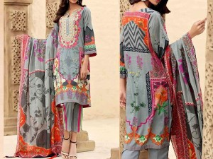Elegant Embroidered Lawn Dress with Embroidered Chiffon Dupatta Price in Pakistan