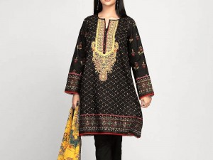 Embroidered Black Lawn Suit with Lawn Dupatta