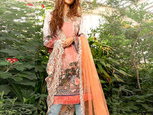 Luxury Embroidered Lawn Dress with Embroidered Net Dupatta Price in Pakistan
