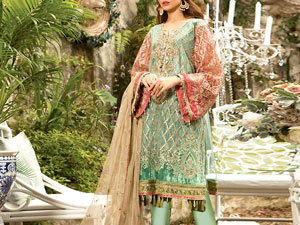 Heavy Embroidered Net Dress with Inner