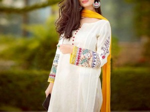 Embroidered White Cotton Dress with Chiffon Dupatta