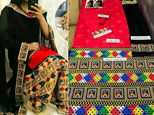 3-Pcs Embroidered Lawn Dress with Phulkari Embroidered Trouser