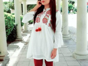 Embroidered White Boski Linen Kurti with Tight Price in Pakistan