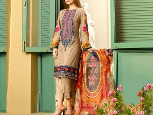 Elegant Embroidered Lawn Suit with Chiffon Dupatta Price in Pakistan